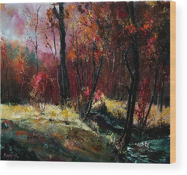 River Wood Print featuring the painting River Ywoigne by Pol Ledent