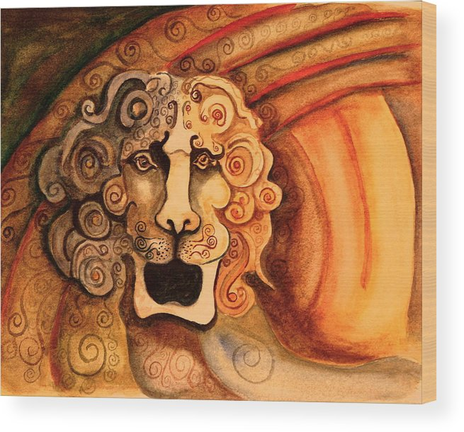 Sketch Wood Print featuring the painting Roaring Lion by Dan Earle