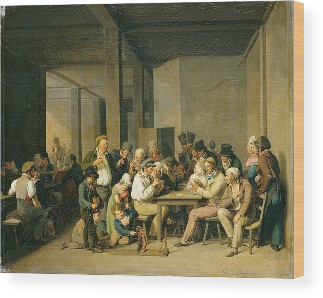 Louis-léopold Boilly - Scene De Cabaret Wood Print featuring the painting Scene De Cabaret by MotionAge Designs