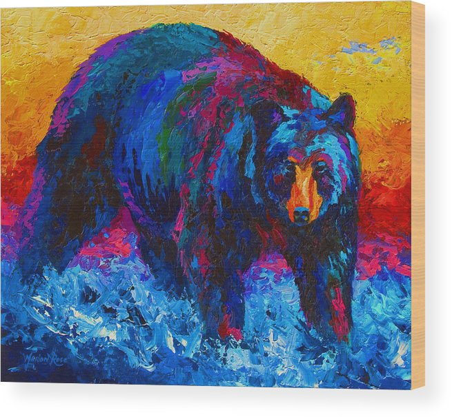 Western Wood Print featuring the painting Scouting For Fish - Black Bear by Marion Rose