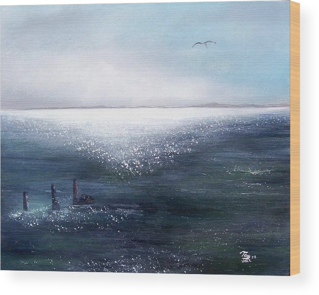 Seascape Wood Print featuring the painting Sea Of Glass by Tony Rodriguez