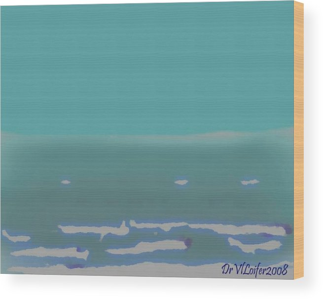 Night.no Moon.sky.sea.waves.coast. Sea Surf .foam Waves. Wood Print featuring the digital art Sea.night.no Moon. by Dr Loifer Vladimir