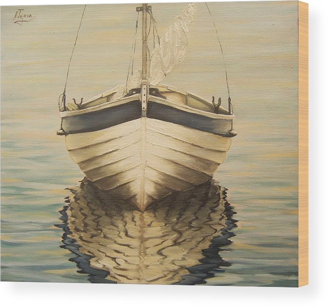 Seascape Wood Print featuring the painting Serenity by Natalia Tejera