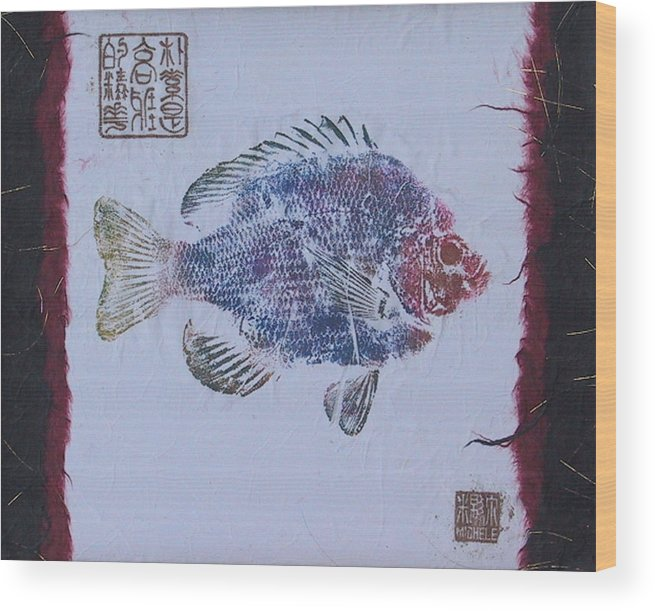 Gyotaku Wood Print featuring the mixed media Simpliciity Is The Heart Of Elegance by Michele Caporaso