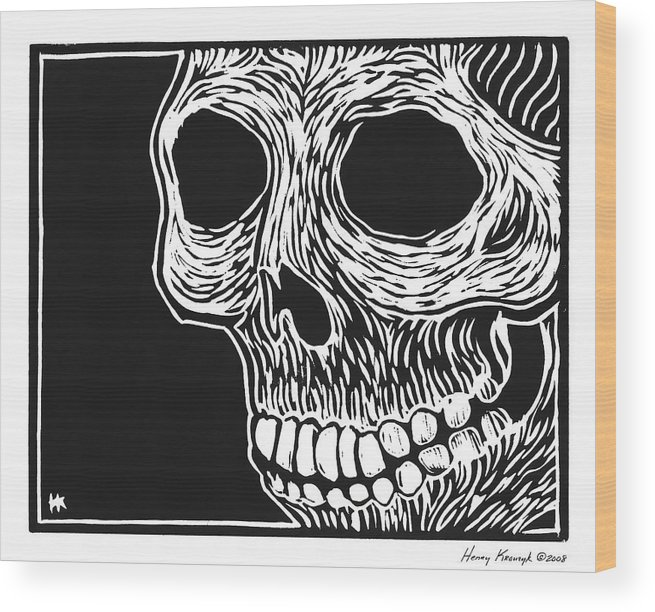 Krauzyk Wood Print featuring the print Skull Aware by Henry Krauzyk