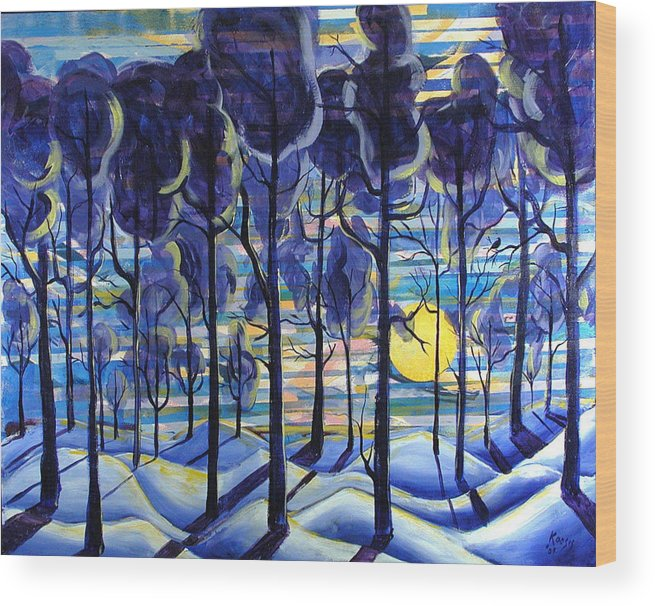 Landscape Wood Print featuring the painting Solitude by Rollin Kocsis
