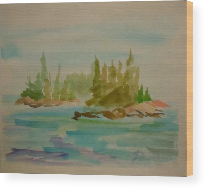 Maine Landscape Wood Print featuring the painting Sorrento Islands by Francine Frank