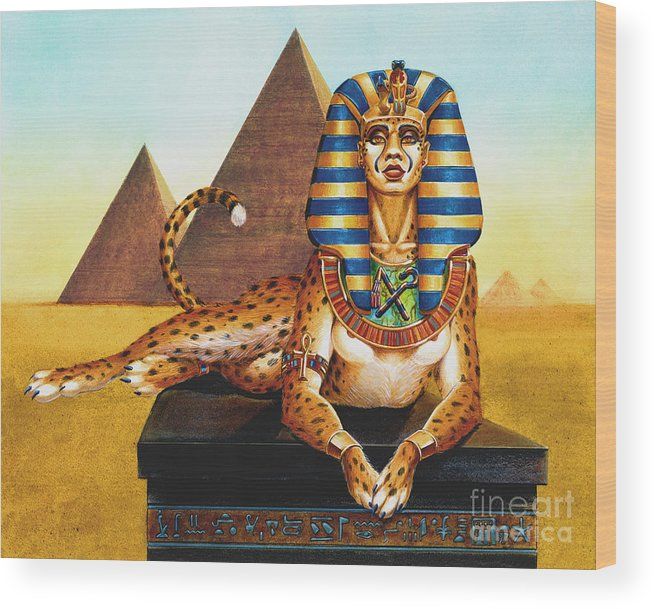 Cat Wood Print featuring the painting Sphinx On Plinth by Melissa A Benson