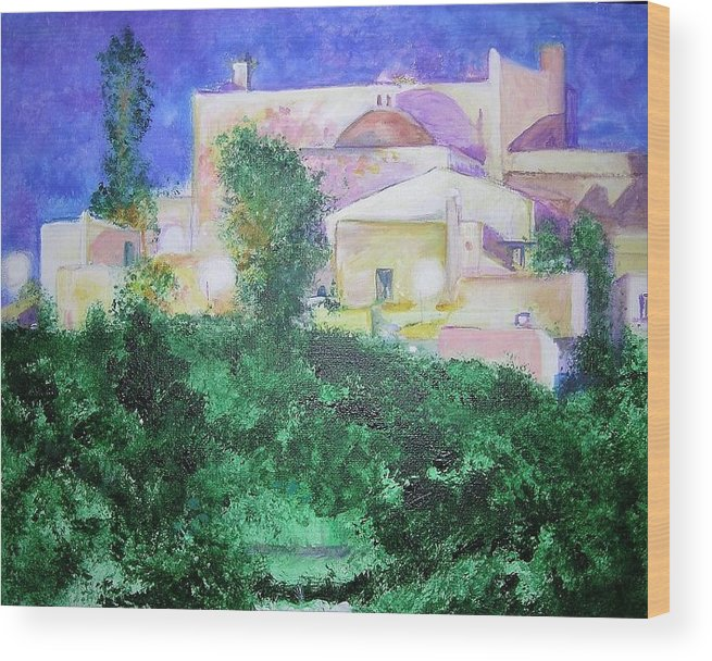Landscape Wood Print featuring the painting Staeulalia Church - Lit Up At Night by Lizzy Forrester