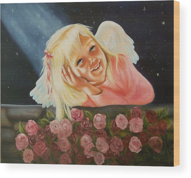 Angel Wood Print featuring the painting Starlight Angel by Joni McPherson
