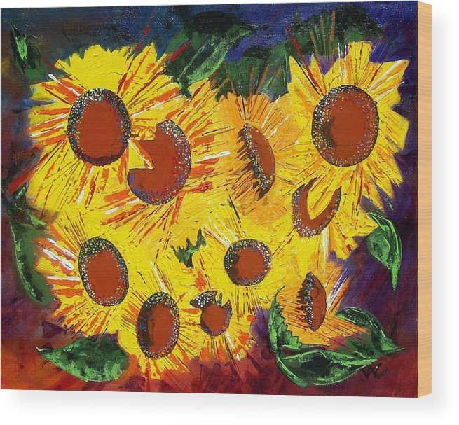 Sunflowers Wood Print featuring the painting Sunflowers II by Valerie Wolf