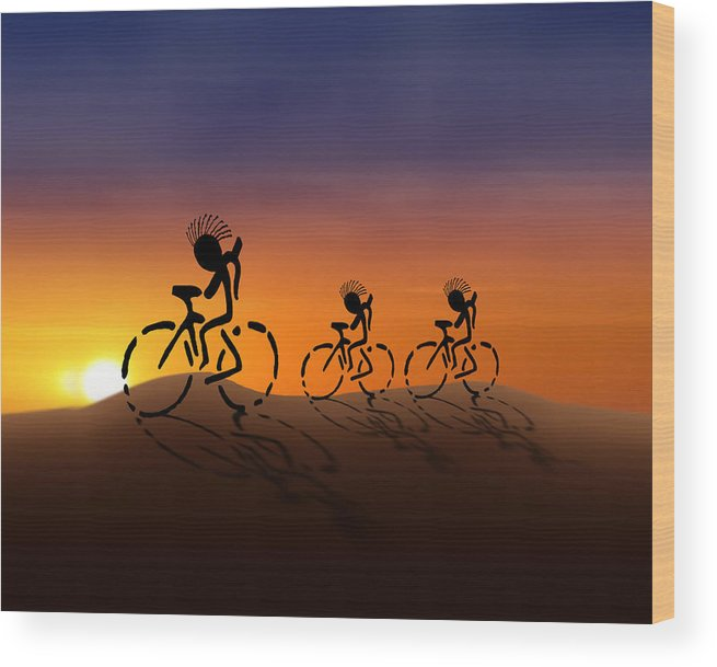 Kokopelli Wood Print featuring the digital art Sunset Riders by Gravityx9 Designs