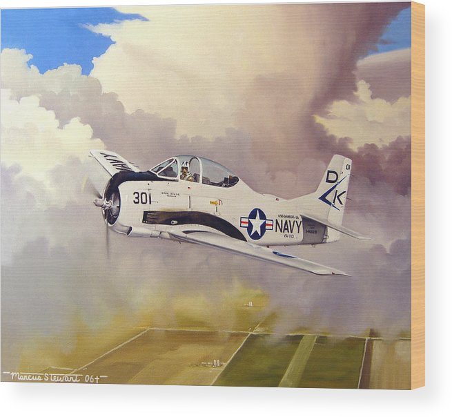 Military Wood Print featuring the painting T-28 Over Iowa by Marc Stewart