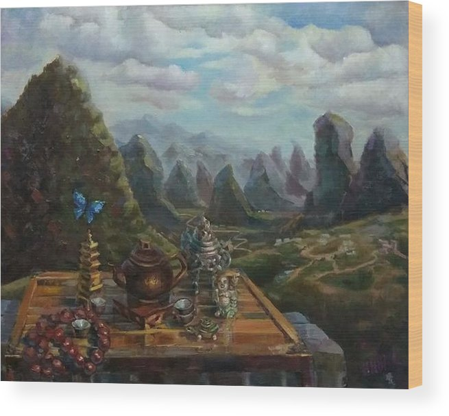 China Wood Print featuring the painting Tea In Yangshuo by Nina Silaeva