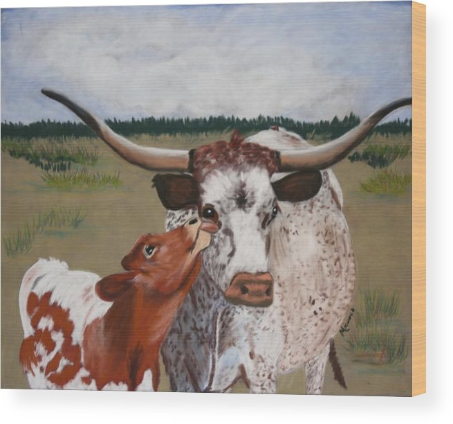 Cows Wood Print featuring the pastel Texas Love by Michele Turney