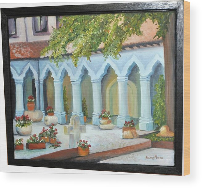 Landscape Wood Print featuring the painting The Court Yard by Nancy Miehle