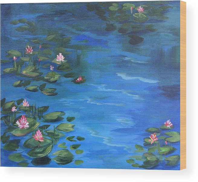Lily Pond Wood Print featuring the painting The Lily Pond II by Torrie Smiley