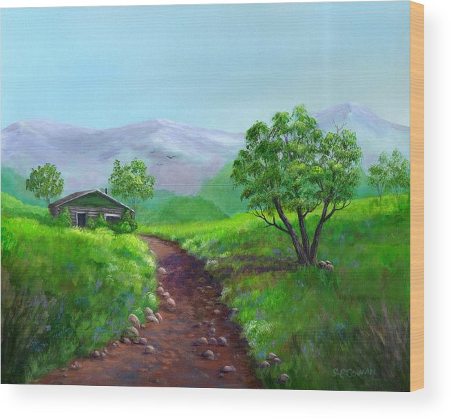Landscape Wood Print featuring the painting The Trappers Cabin by SueEllen Cowan
