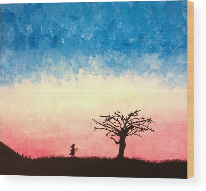 Child Wood Print featuring the painting The Tree by Jennifer Hernandez