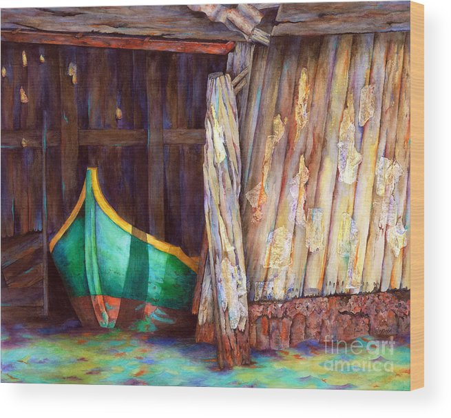 Boats Wood Print featuring the painting The Venetian Boathouse by Winona Steunenberg