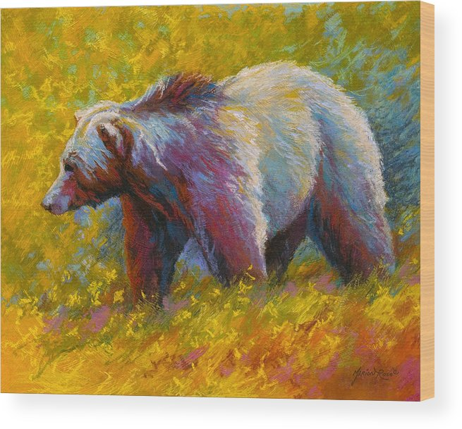 Western Wood Print featuring the painting The Wandering One - Grizzly Bear by Marion Rose
