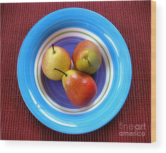 Nature Wood Print featuring the photograph Three Pears In A Bowl by Lucyna A M Green