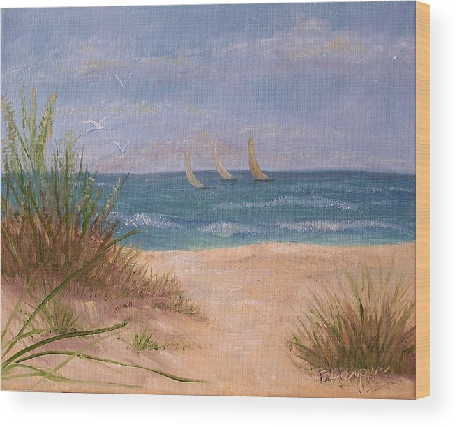 Beach Wood Print featuring the painting Three Sails by Barbara Harper