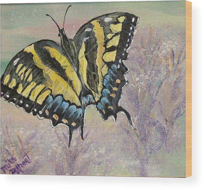 Butterfly Wood Print featuring the painting Tiger Swallowtail by Mikki Alhart