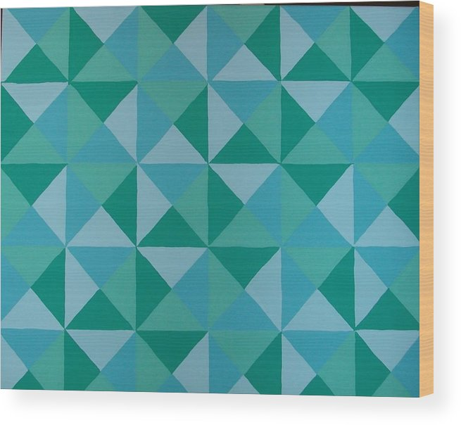 Triangles Wood Print featuring the painting Trying Any Angle by Gay Dallek