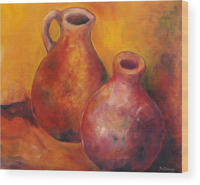 Oil Wood Print featuring the painting Two Jars by Jun Jamosmos