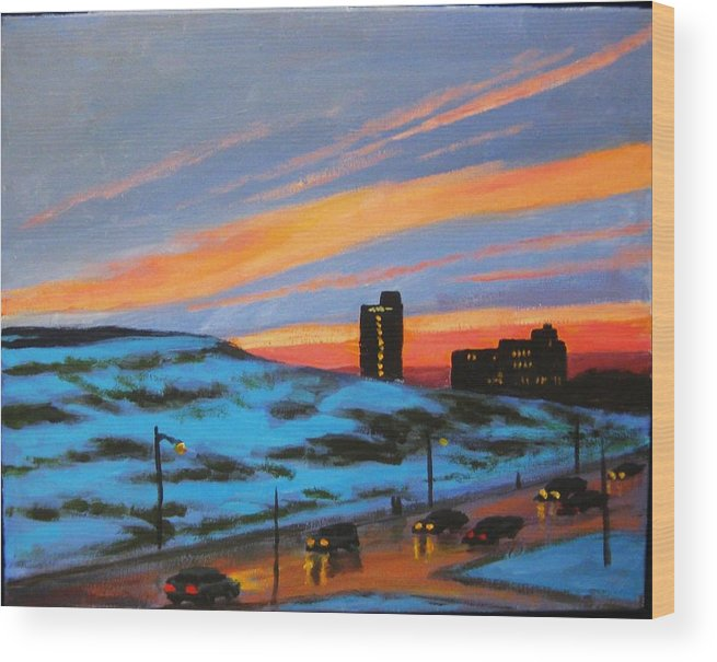 City At Night Wood Print featuring the painting View From My Balcony by John Malone