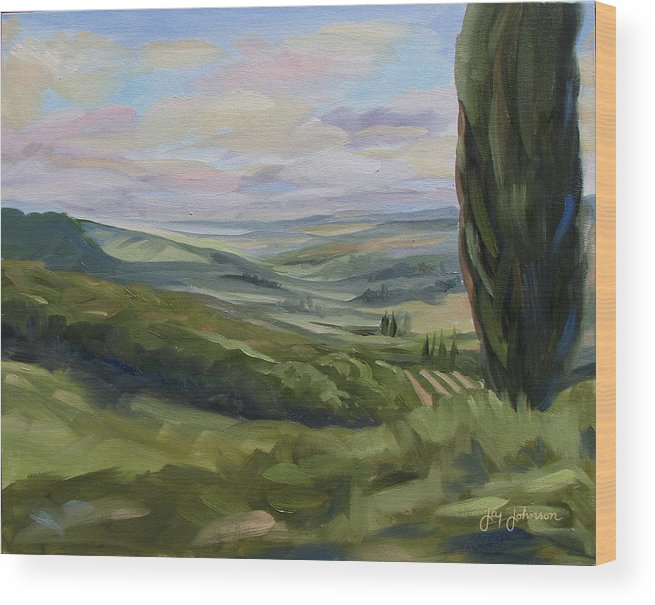 Landscape Wood Print featuring the painting View From Sienna by Jay Johnson