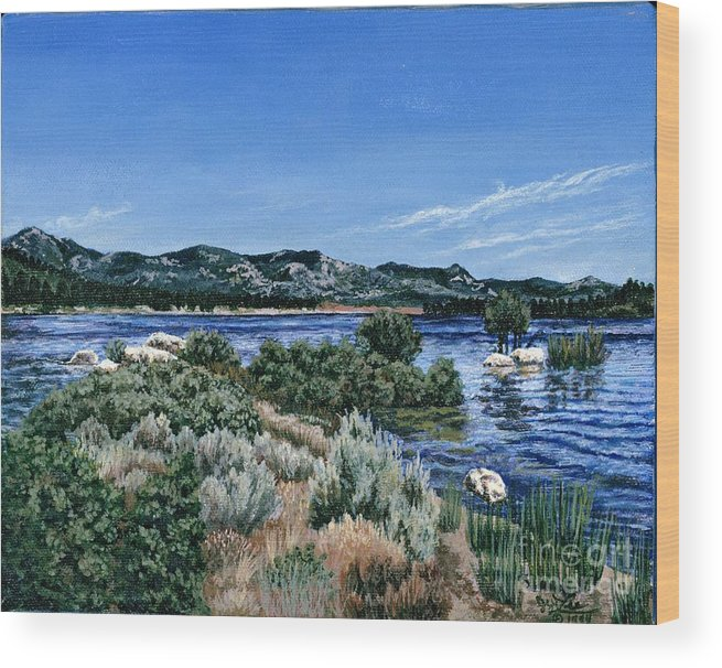 Landscap Painting Wood Print featuring the painting View Of Lake Hemet by Jiji Lee