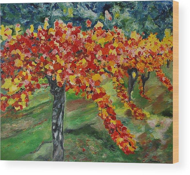 Vineyards Wood Print featuring the painting Vineyards In Napa by Dorota Nowak