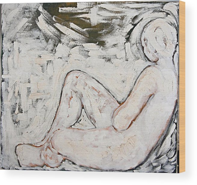 Nude Wood Print featuring the painting White On White by Jeannette Ulrich