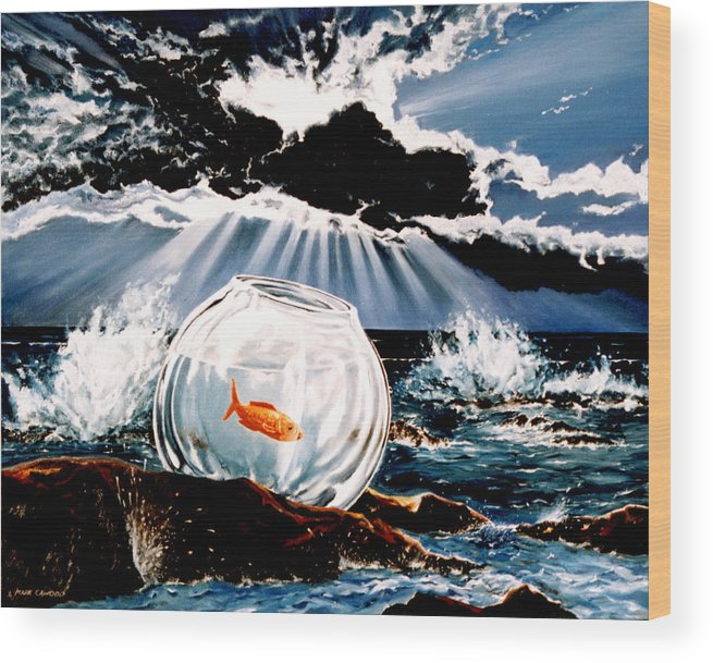 Surreal Wood Print featuring the painting Wish You Were Here by Mark Cawood