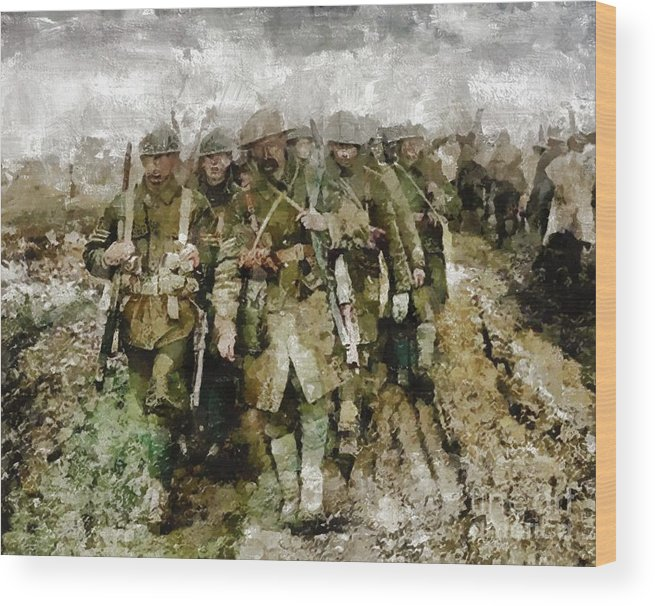 World Wood Print featuring the painting Ghosts Of Wwi by Mary Bassett
