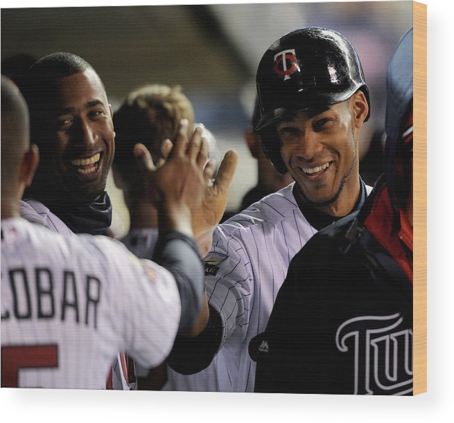 Game Two Wood Print featuring the photograph Eduardo Nunez by Brian Blanco