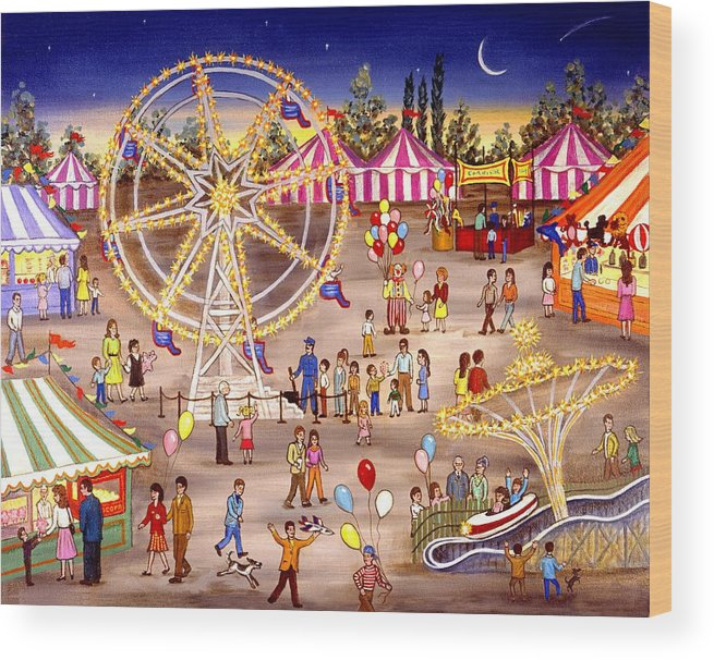 Carnival Wood Print featuring the painting Ferris Wheel At The Carnival by Linda Mears