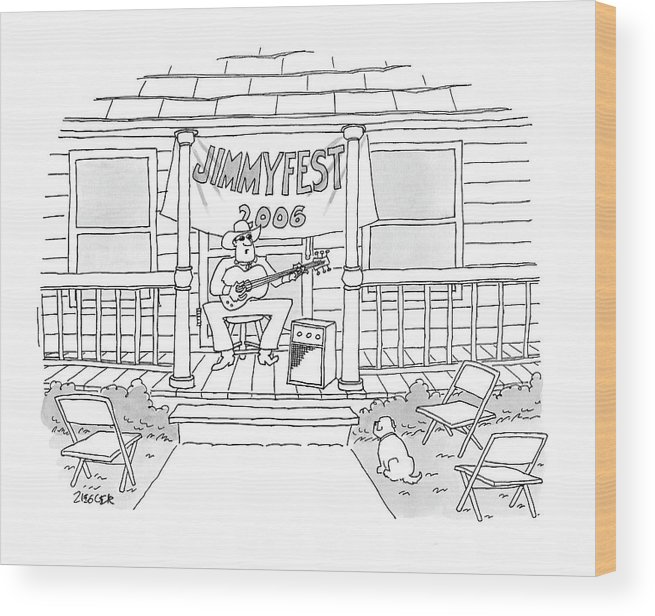 Country Wood Print featuring the drawing Jimmyfest 2006 by Jack Ziegler