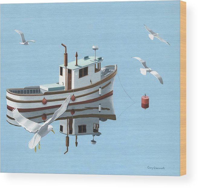 Boat Wood Print featuring the painting A Contemplation Of Seagulls by Gary Giacomelli