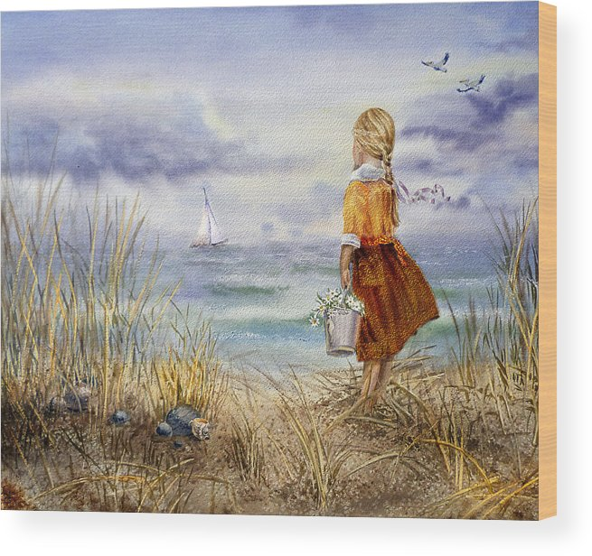 Girl And The Ocean Wood Print featuring the painting A Girl And The Ocean by Irina Sztukowski
