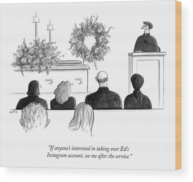 Instagram Wood Print featuring the drawing A Priest Makes A Eulogy by Julia Suits