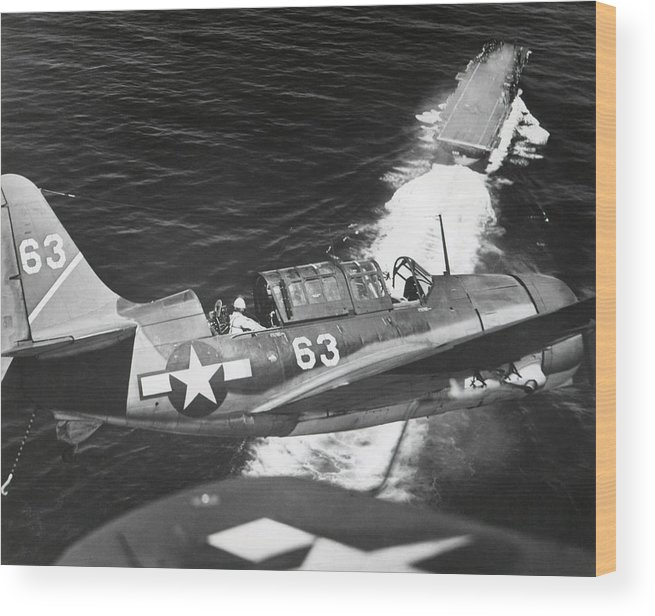 History Wood Print featuring the photograph Aerial View Of A Curtiss Helldiver by Everett