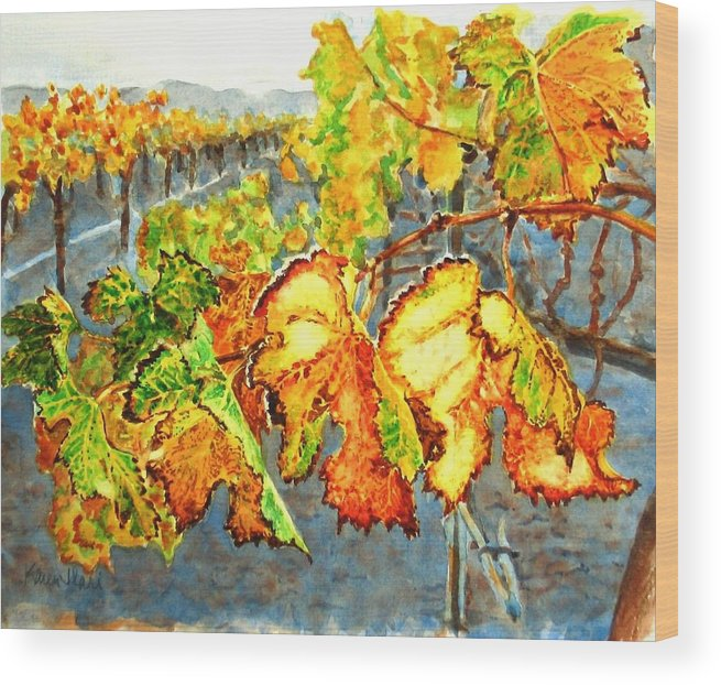 Vineyard Wood Print featuring the painting After The Harvest by Karen Ilari