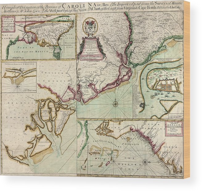 South Carolina Wood Print featuring the drawing Antique Map Of South Carolina By Edward Crisp - Circa 1711 by Blue Monocle