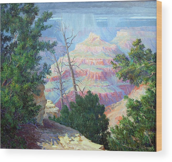 Grand Canyon Wood Print featuring the painting Approaching Shower by Douglas Turner