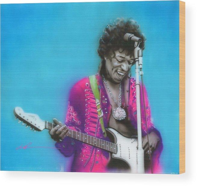 Jimi Hendrix Wood Print featuring the painting Aqua Haze by Christian Chapman Art