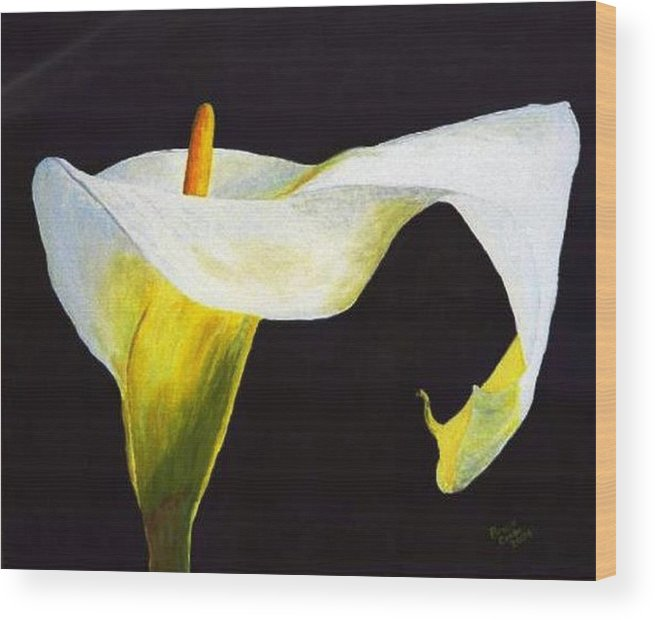 Close-up Wood Print featuring the painting Calla Lily by Bruce Combs - REACH BEYOND