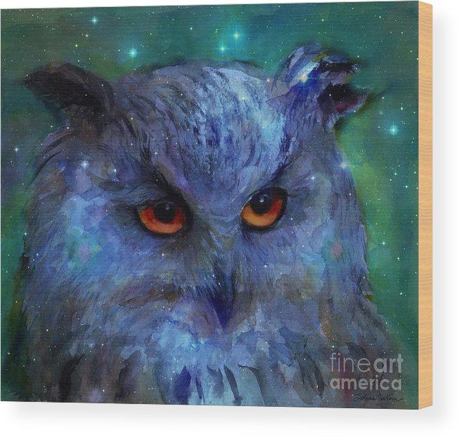 Owl Wood Print featuring the painting Cosmic Owl Painting by Svetlana Novikova